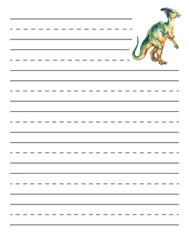 Parasaurolophus Dinosaur Primary Lined Paper
