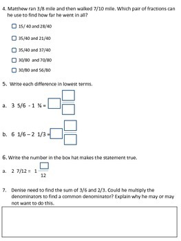 Parcc-like Assessment Add and Subtract Fractions