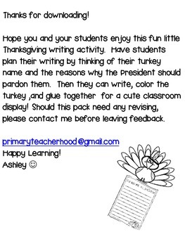 Pardon Me: Mr President - A turkey writing activity