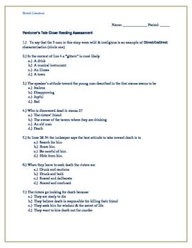 Pardoner's Tale Reading Assessment