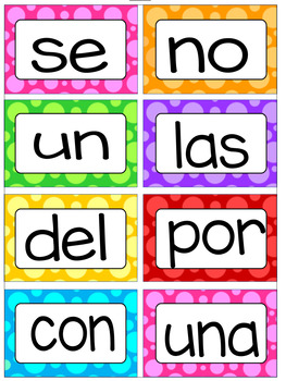 Pared de Palabras- Word Wall- High Frequency Words in Spanish