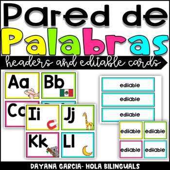 Pared de Palabras (word wall headers and editable word wall cards) BRIGHT
