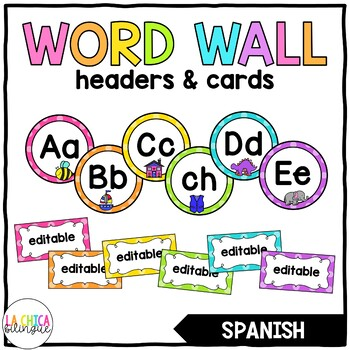 Pared de Palabras (Spanish Word Wall Headers & Editable Word Wall Cards)