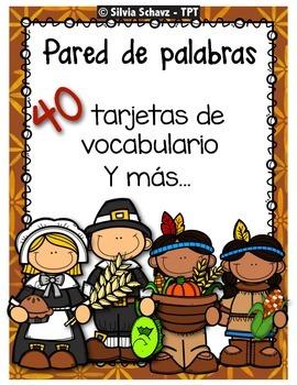 Pared de palabras del Día de acción de gracias en español
