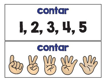Spanish Math Word Wall Bundle K / Pared de palabras (matemáticas kinder)