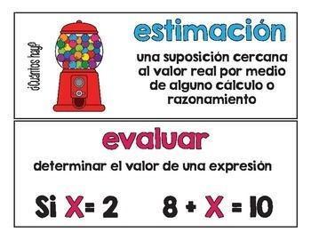 Pared de palabras (matemáticas 3/4) / Math Word Wall Spanish Bundle