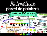 Math Word Wall in Spanish   Pared de palabras (matemáticas 3/4)