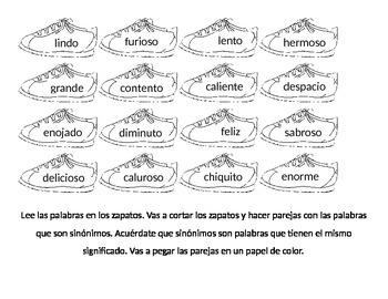 Parejas de Sinonimos Zapatos (Spanish Synonym Pairing Sort)