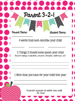 Parent 3-2-1 form