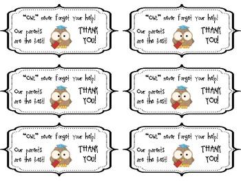 Parent Appreciation Gift Labels ~ FREEBIE!