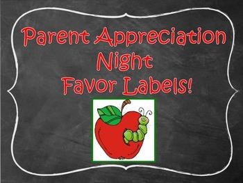 Parent Appreciation Night Favor Labels