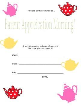 Parent Appreciation form