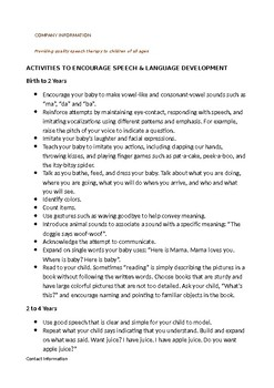 Parent Article: Activities to Encourage Speech & Language Development