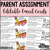 Parent Assignment Editable Email Cards FREEBIE