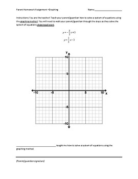 Parent Assignment- Graphing Systems of Equations