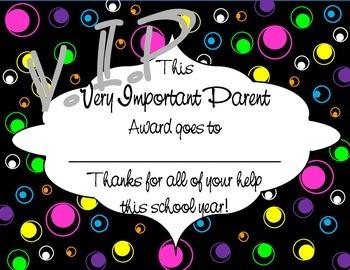 Parent Award: VIP-Very Important Parent
