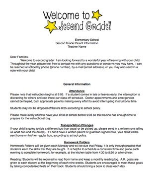Parent Back to School Welcome Letter