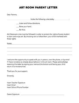 Parent Behavior Letter: Parent Contact
