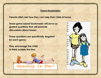 Parent Bookmarks -- Genre Bookmarks with Questions for Discussion