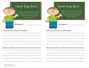 Parent Brag Sheet
