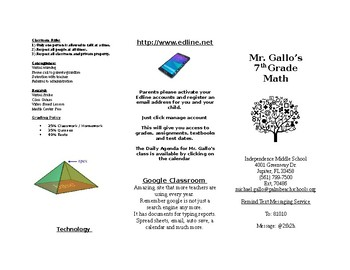 Parent Brochure for Open House / Curriculum Night (Math)