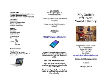 Parent Brochure for Open House / Curriculum Night (World History)