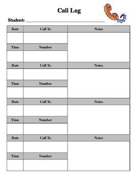 parent call log by marytheinsp teachers pay teachers