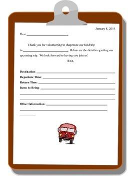 Parent Chaperone Information Letter