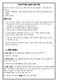 Parent Cheat Sheet Writing Support
