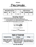 Parent Cheat Sheets--All About Decimals