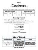 Parent Cheat Sheets--All About Decimals