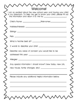 Parent & Child Information Form