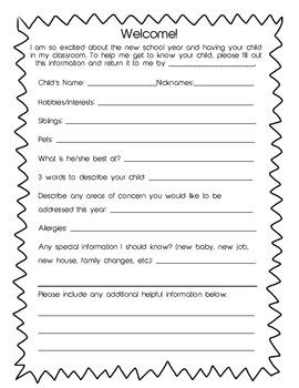 Parent & Child Information Form