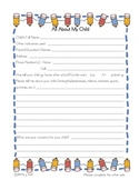 Parent - Child Information Sheet - All About My Child