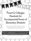 Parent & Colleague Handouts for Developmental Norms of Ele