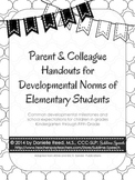 Parent & Colleague Handouts for Developmental Norms of Elementary Students