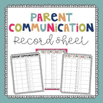 Parent Communication Record Sheet