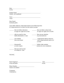 Parent Communication Bilingual Behavior Letter