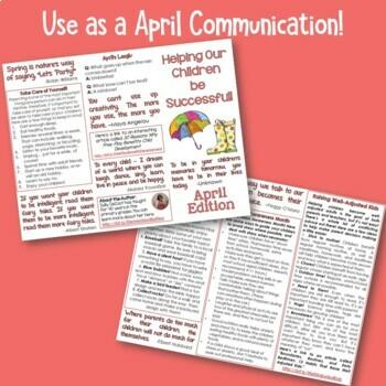 Parent Communication Brochure - April Edition