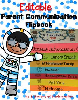 Parent Communication Flipbook (Editable) Space Theme