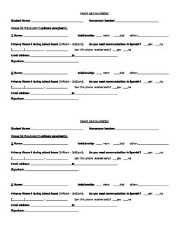 Parent Communication Form