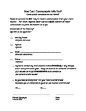 Parent Communication Form- w/ Spanish