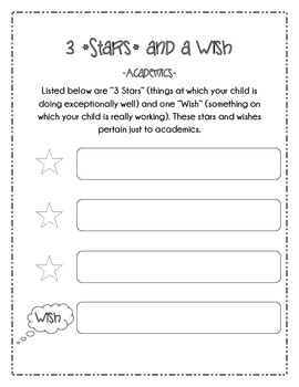 Parent Communication Forms: 3 Stars and a Wish