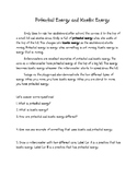 Kinetic & Potential Energy Informational Text Minilesson