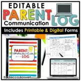 Parent Communication Log - EDITABLE   Printable   Digital