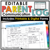Parent Communication Log - EDITABLE | Printable | Digital