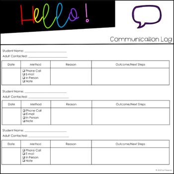 Parent Communication Log - FREEBIE -