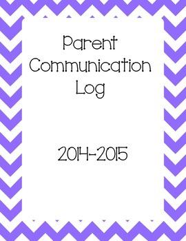 Parent Communication Log Binder Cover Sheet
