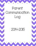 Parent Communication Log Binder Cover Sheet