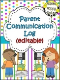 Parent Communication Log ~ Bright Polka Dots & Stripes (Editable)